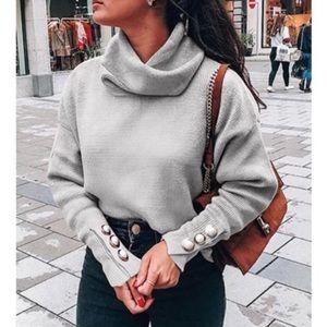 🆕 LAST   Cowl Neck Pearl Sweater